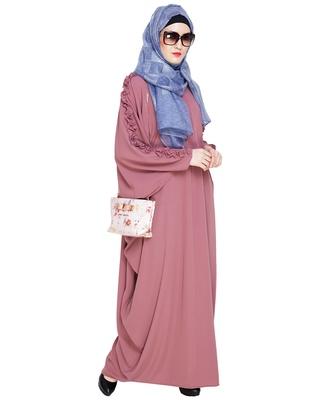 Onion-pink embroidered nida islamic kaftan