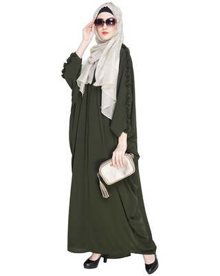 Olive embroidered nida islamic kaftan