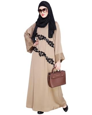 Beige embroidered nida abaya