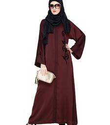 Dark-wine embroidered nida abaya