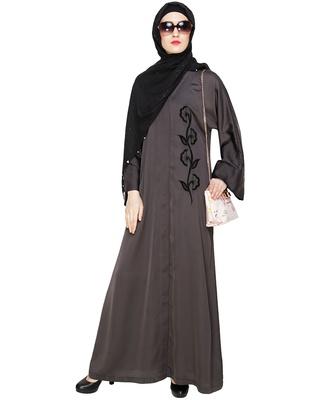 Dark-grey embroidered nida abaya