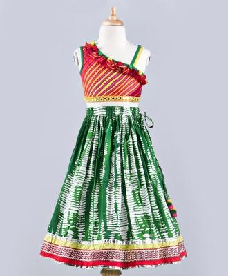 Twisha Stylish asymentrical choli with Ruffle with designer lehenga without dupatta-Green