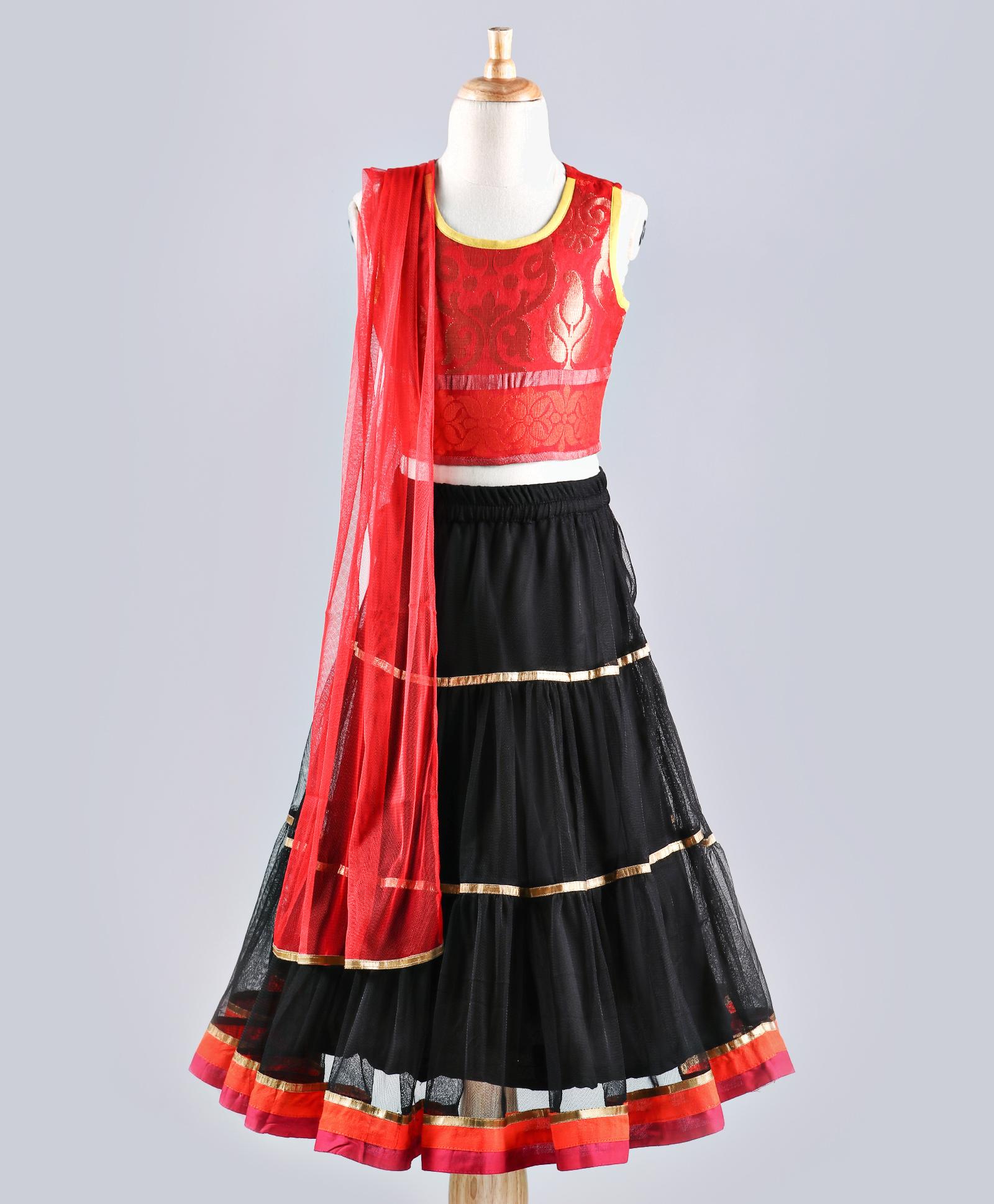 4eb564426ca50a Twisha Stylish brocade choli with designer three tiered lehenga with  Dupatta-Red - TWISHA - 2887054