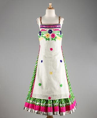 Twisha Stylish Floral Embroidered Long  choli  with designer Lehariya flared lehenga-White