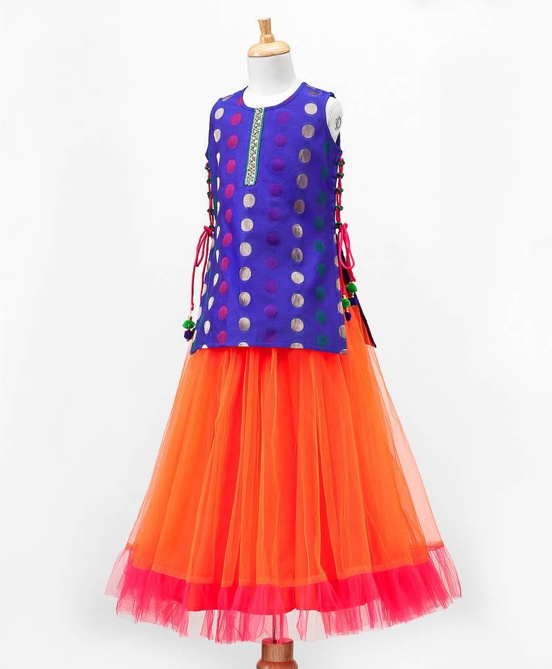 8492fdc08710e5 ... Twisha Stylish Embroidered Long choli with designer Tiered lehenga  -Royal Blue