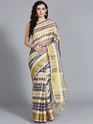 Blue printed cotton poly saree with blouse