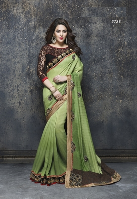 Multicolor embroidered satin saree with blouse