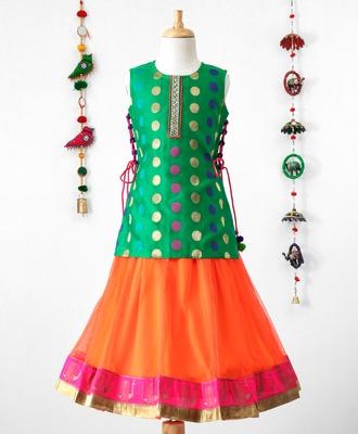 Twisha Stylish Brocade Long choli with tie up &  trendy Net Lehanaga- Green