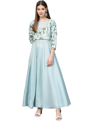 Sky-blue printed polyester kurti