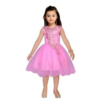 Pink embroidered net kids frocks
