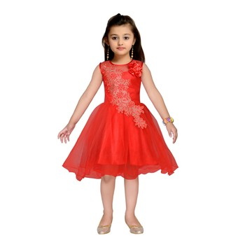 Red embroidered net kids frocks