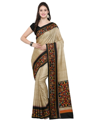 Beige Printed Tussar Silk Sarees With Blouse