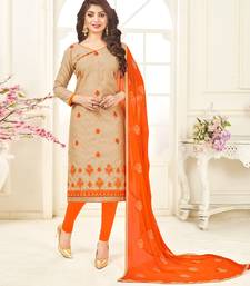 Beige embroidered jacquard salwar