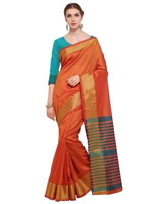 Orange Woven Tussar Silk Sarees With Blouse