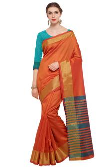 1d6689b67 Orange Woven Tussar Silk Sarees With Blouse