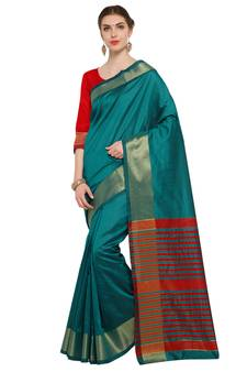 63d1704fc Turquoise Woven Tussar Silk Sarees With Blouse