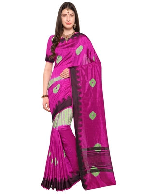 Pink Woven Jacquard Sarees With Blouse