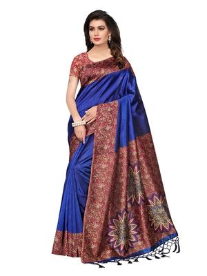 Blue Printed Kalamkari Sarees With Blouse