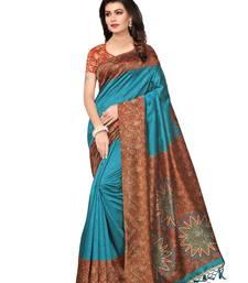 Turquoise Printed Kalamkari Sarees With Blouse