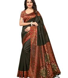 Black Printed Kalamkari Sarees With Blouse