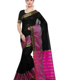 Black Woven Maheshwari Sarees With Blouse