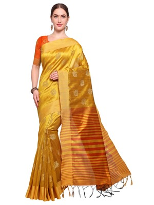Yellow Woven Tussar Silk Sarees With Blouse