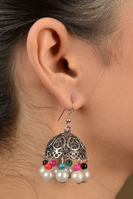 German Silver Multicoloured Jhumka