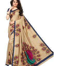 Beige Printed Art Silk Sarees With Blouse