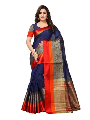 NavyBlue Woven Chanderi Sarees With Blouse