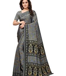 Grey Printed Crepe Sarees With Blouse