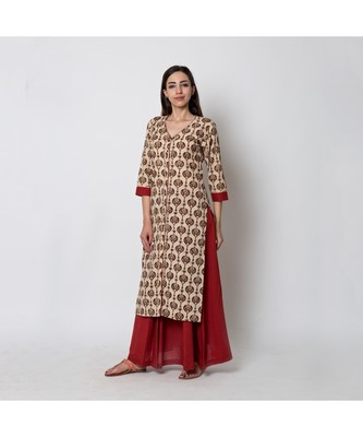Beige Paisley printed Kurta with solid Red Pleated skirt (set of 2)