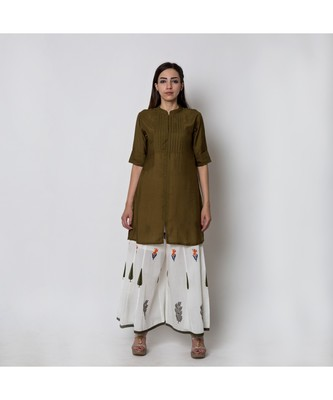 Green Shirt Kurta with Mughal Garden printed Pallazo Pants