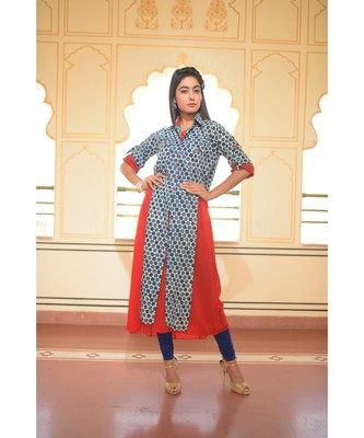 Beehive' printed Indigo Shirt Kurta with Red Inner