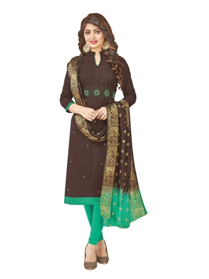 Brown hand embroidery cotton salwar