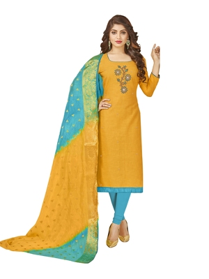 Yellow Hand Embroidery Cotton Salwar