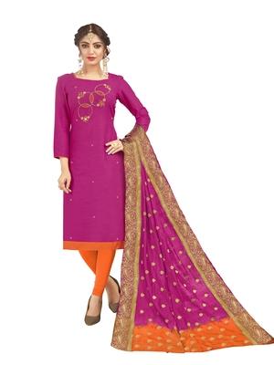 Pink hand embroidery cotton salwar