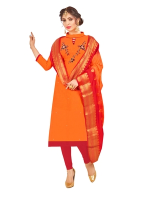 Orange hand embroidery cotton salwar