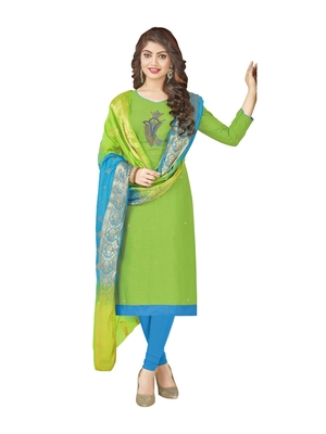 Green Hand Embroidery Cotton Salwar