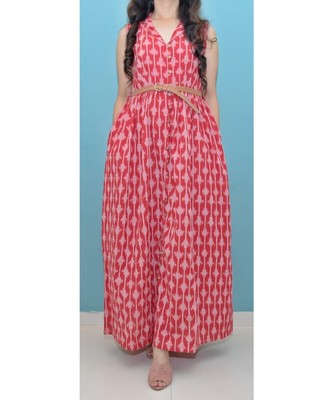 Red Ikat Cotton Front Open Long Dress