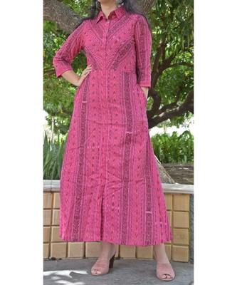 Pink Sambalpuri Ikat Cotton Long Dress