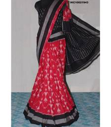 RED WITH BLACK & GREY BORDER DOUBLE IKAT COTTON SAREE WITH BLOUSE