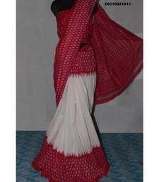 OFF WHITE WITH RED BORDER DOUBLE IKAT COTTON SAREE WITH BLOUSE