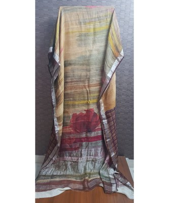BROWN DIGITAL FLORAL PRINTED PURE LINEN SAREE WITH DARK MAROON CHECK BLOUSE