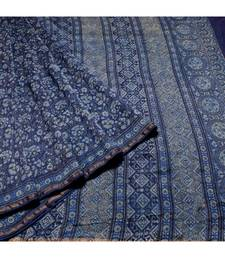 BLUE AJRAKH PRINT CHANDERI SILK SAREE WITH BLOUSE