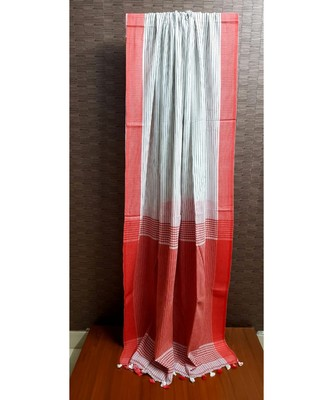 WHITE SOFT BENGAL COTTON SAREE WITH GREY STRIPES AND RED SILK THREAD BORDER WITH BLOUSE