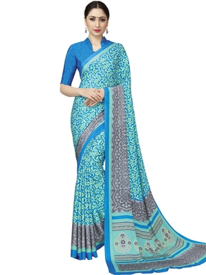 Blue Printed Crepe Sarees With Blouse
