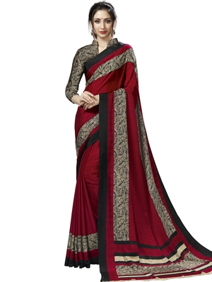 Maroon Printed Crepe Sarees With Blouse