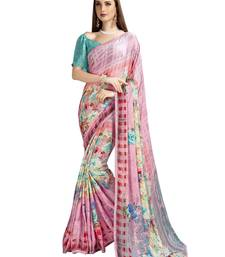 Pink Embroidered Satin Sarees With Blouse