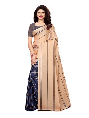 Peach Printed Shimmer Sarees With Blouse