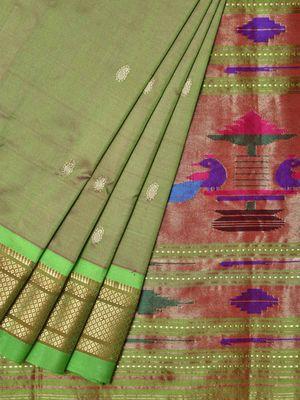 Olive Paithani Silk Handloom Saree with Single Pallu Design